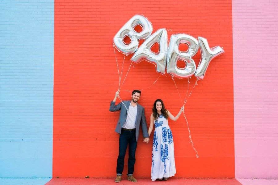 baby reveal balloons, blue and white anthropologie maxi dress, silver baby balloons, sugar and cloth color wall, baby reveal ideas, lone star looking glass, houston fashion blogger