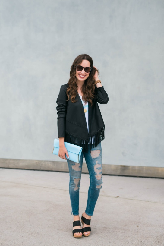 bernardo black fringe leather jacket, bernardo jacket, true religion distressed leggings, henri bendel light blue clutch, sole society wedges