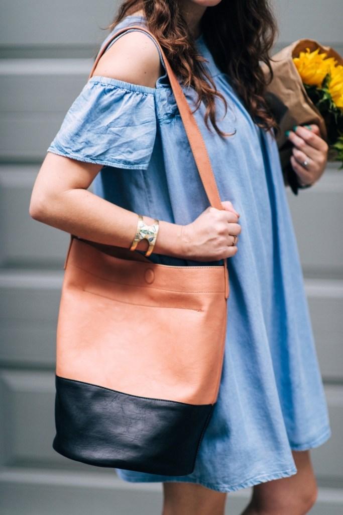 sole society black and tan bucket bag, zara chambray sundress, houston fashion blogger