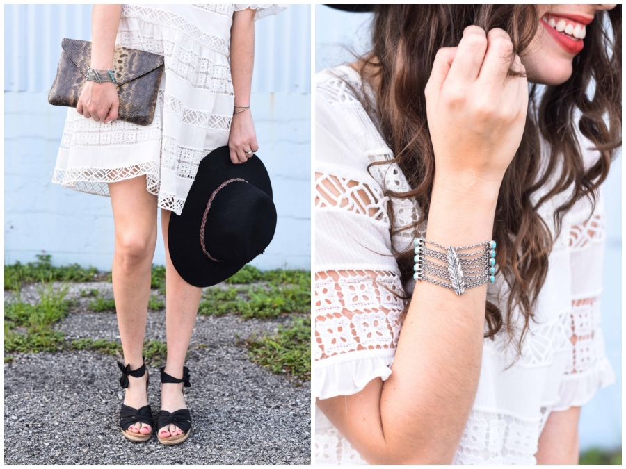 ugg black wedges, lucky brand silver cuff, clarimond lace dress