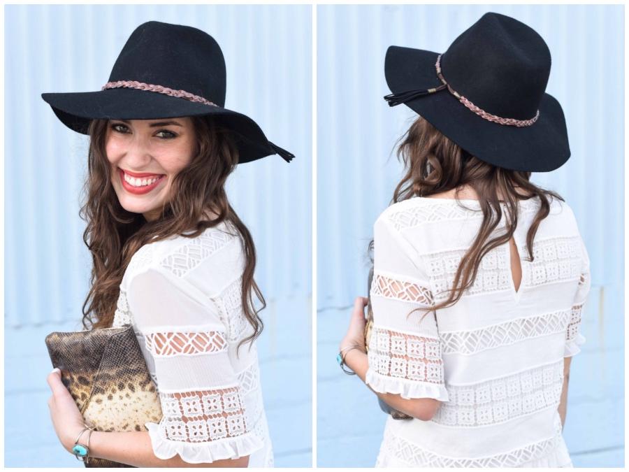 elaine turner python clutch, clarimond lace dress