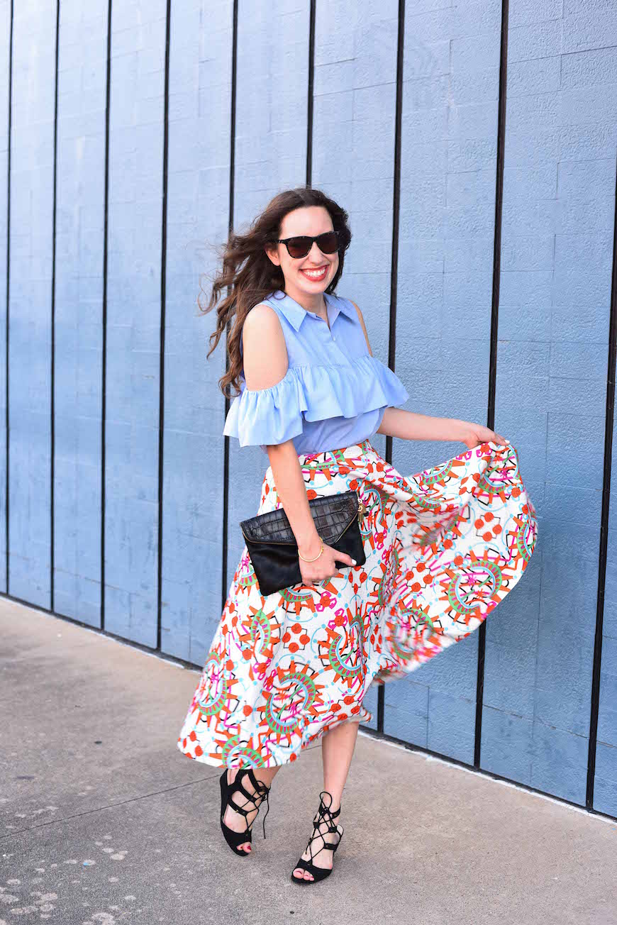 cultro clothing printed skirt, zara blue cold shoulder top, houston fashion blogger, lone star looking glass. how to wear a printed skirt