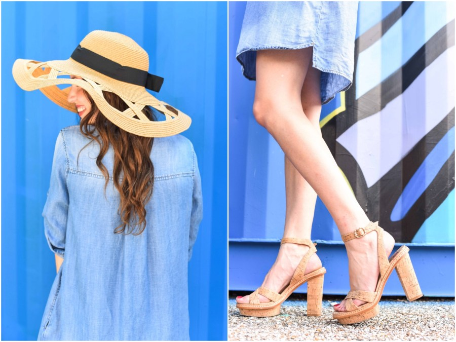 modcloth straw hat, cork heels, elaine turner heels, how to wear a chambray dress