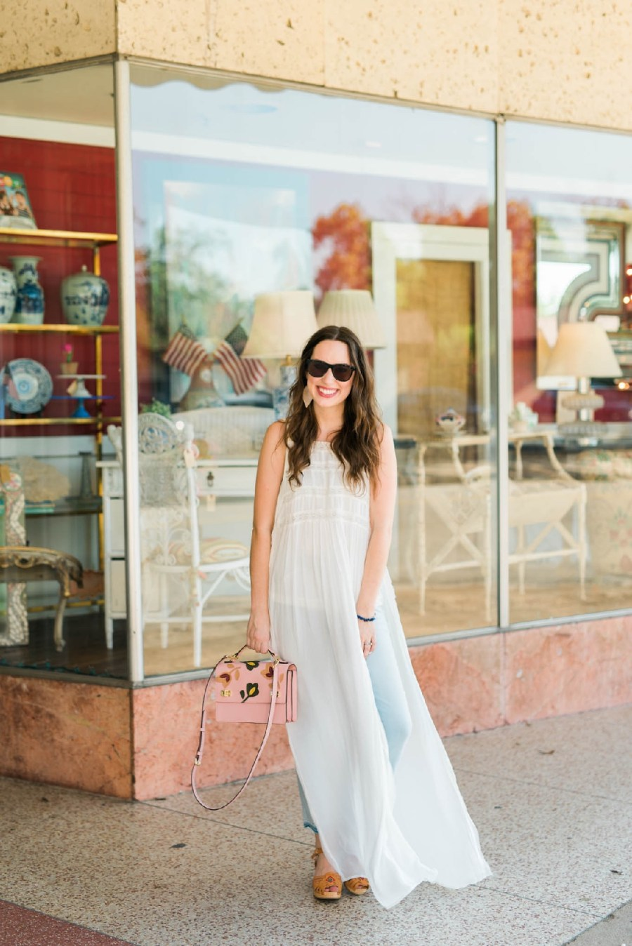 emerson rose houston heights, white linen night houston heights, henri bendel pink satchel, 19th street houston heights