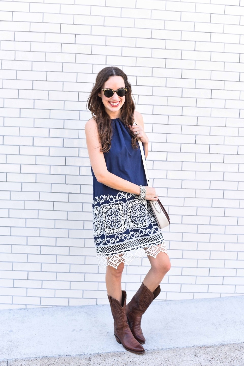 anthropologie west end swing dress, kas new york anthropologie, navy and white lace anthropologie dress