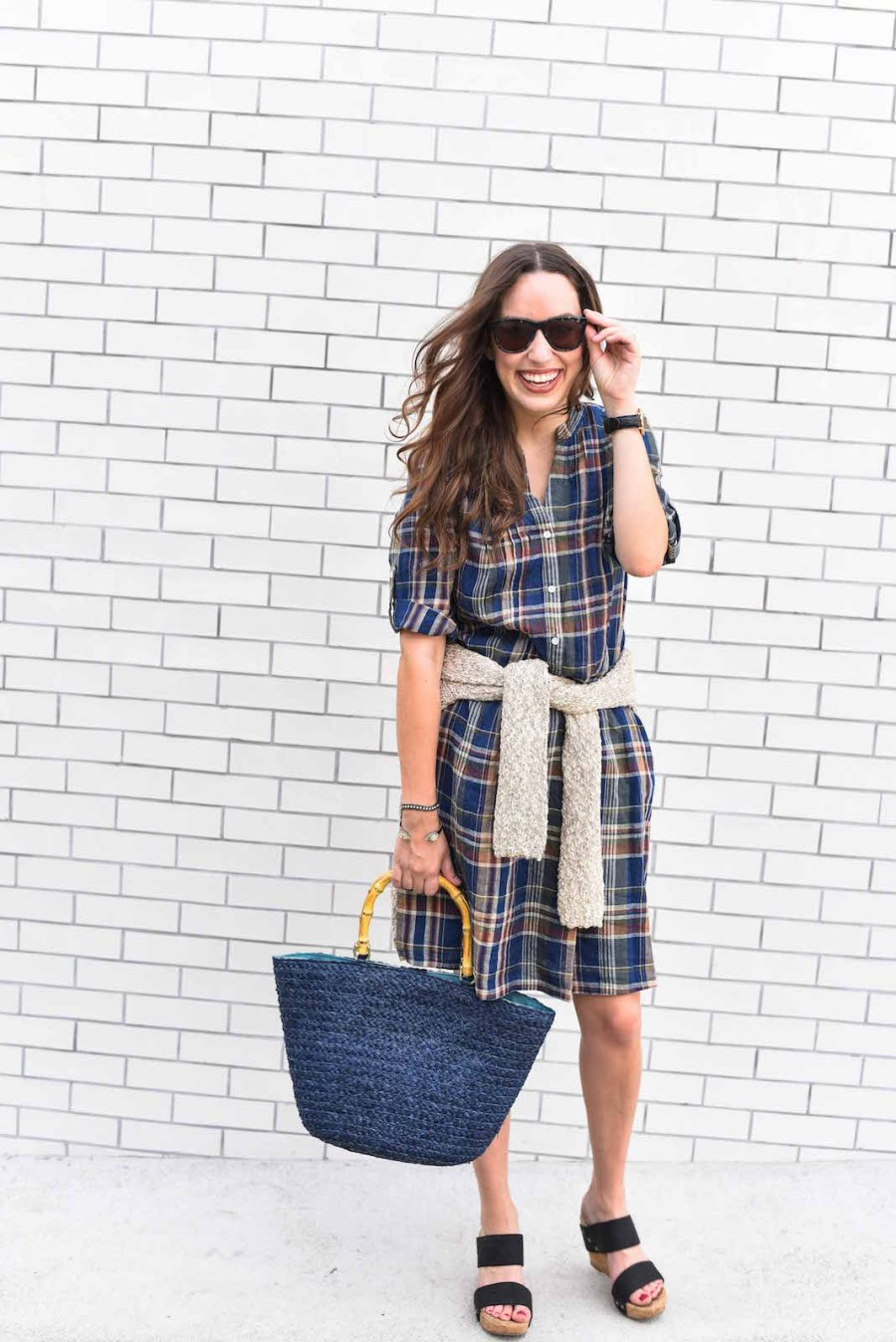 jmclaughlin plaid dress, fall transitional outfits, what to wear between summer and fall, navy bamboo tote bag, jmclaughlin fall 2016