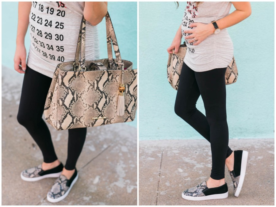 maternity weekly countdown tee, pregnancy countdown top, pea in the pod leggings, what to wear with maternity leggings, vionic snake sneakers, elaine turner snake printed tote purse
