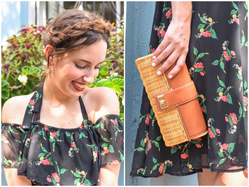 Sharing how to accessorize a black floral dress with a crown braid and a wicker clutch.