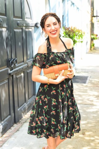 Styling Anthropologie's black floral off the shoulder Nigella Dress on Rainbow Row in Charleston.