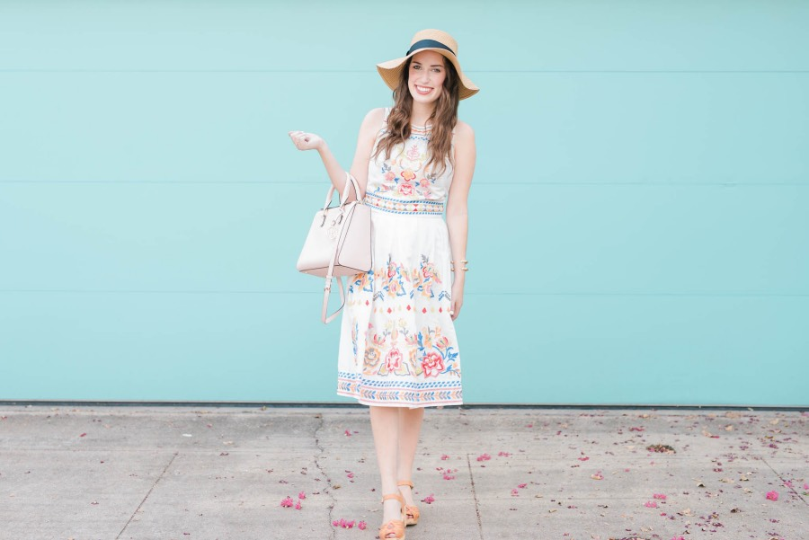 Soaking up the last bit of summer in an embroidered two piece set from Champagne and Strawberry.