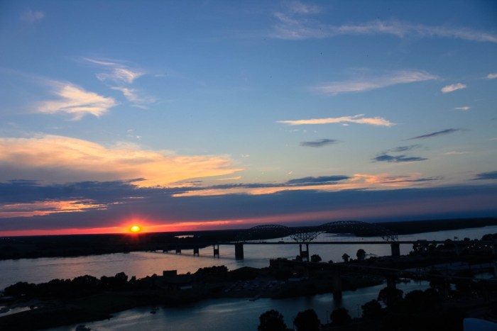 View from the rooftop bar at the Madison Hotel in Memphis, Tennessee