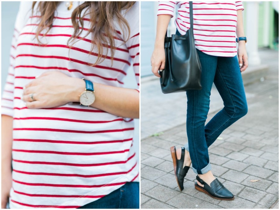 Casual maternity outfit inspiration for fall.