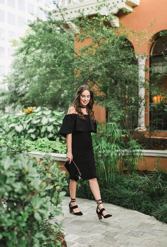Alice Kerley styles Monique Lhuliler's Black Off the Shoulder fitted dress at Rosewood Mansion in Dallas.