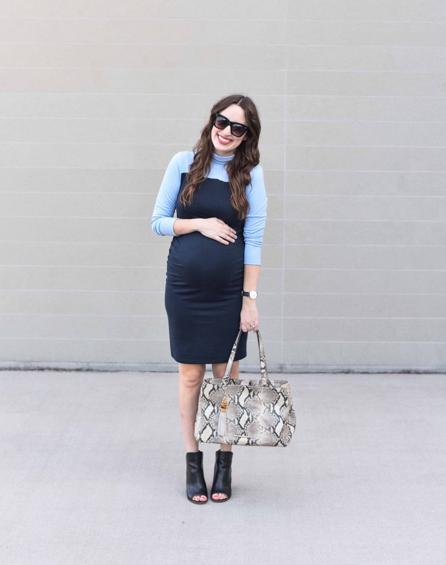 Lone Star Looking Glass, a Texas fashion blow, styles a blue colorblocked maternity dress from Stowaway at 28 weeks pregnant.