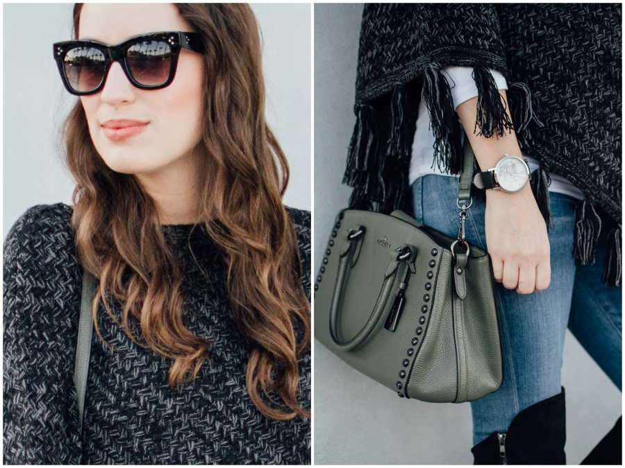 Olive green coach crossbody and black sunglasses for fall.