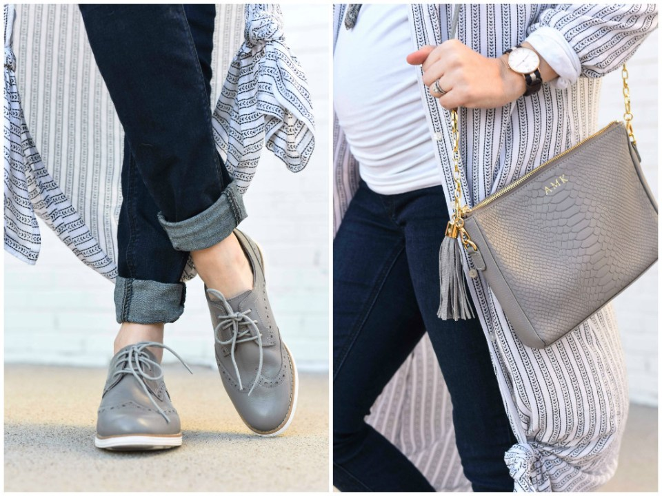 Texas fashion blogger styles Cole Hahn Original Grand Wingtip Oxfords in gray styled with a Gigi New York Gray Crossbody.