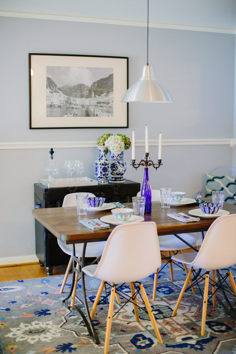 Elegant A Mid Century Blue And White Dining Room Remodel.
