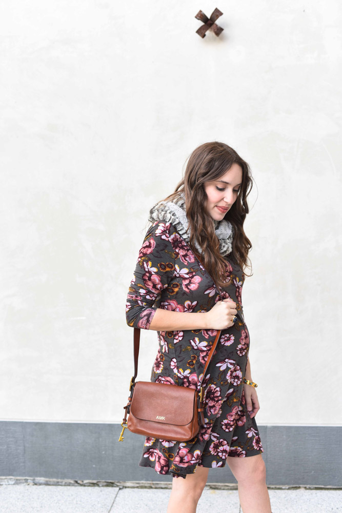 Houston fashion blogger styles a Ruthie Grace Boutique floral print shift dress as a maternity dress for fall.