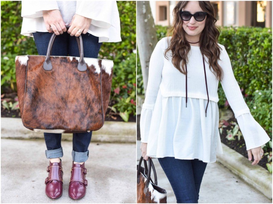 Texas fashion blogger Alice Kerley styles French Connection maroon booties and Mark & Graham's Telluride Cowhide Bag for Fall.