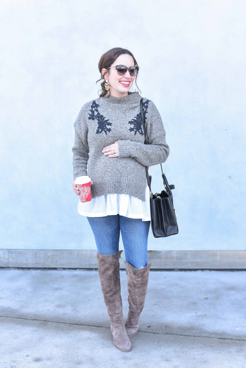 Houston fashion blogger Alice Kerley styles French Connection's Alice Sweater for the holidays.