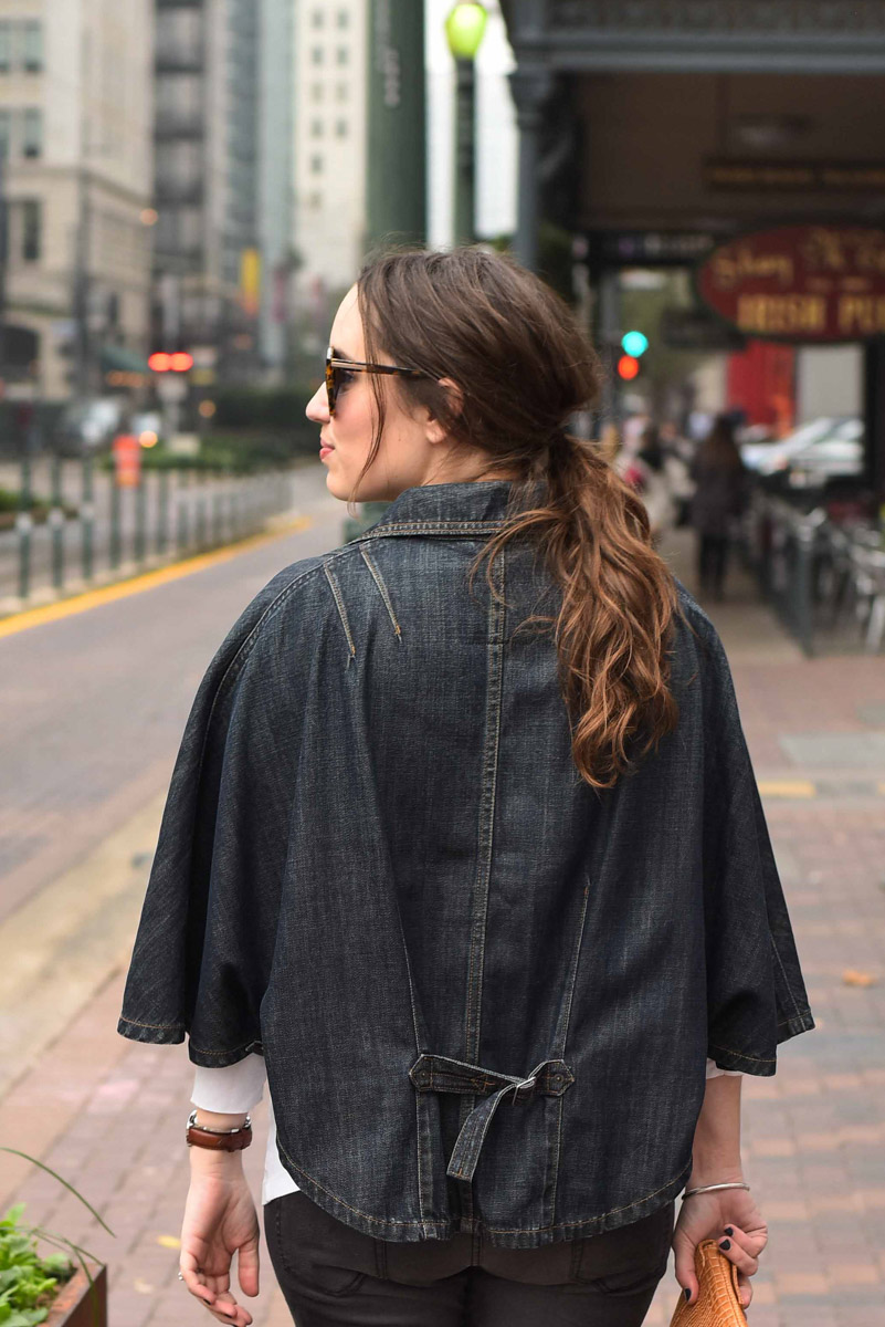 Houston fashion blogger styles a vintage levi's denim poncho.