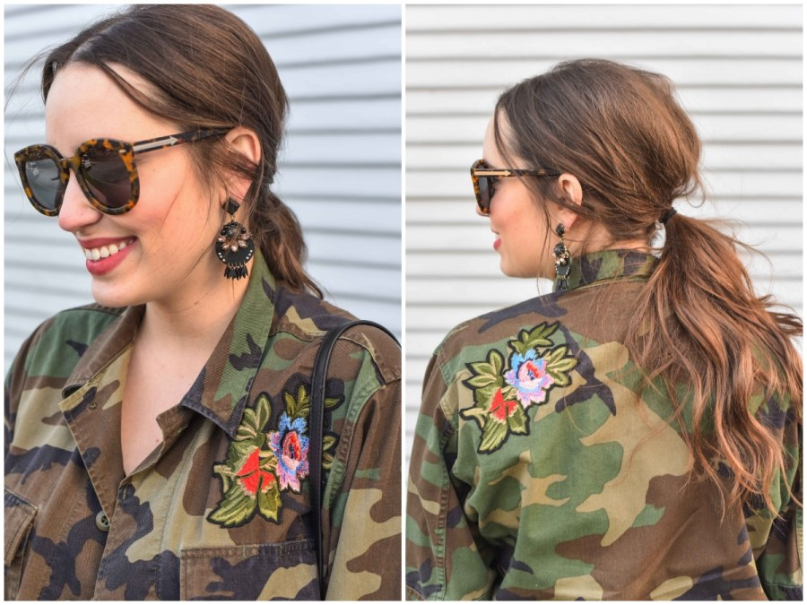 messy_ponytail_updo_camo_jacket