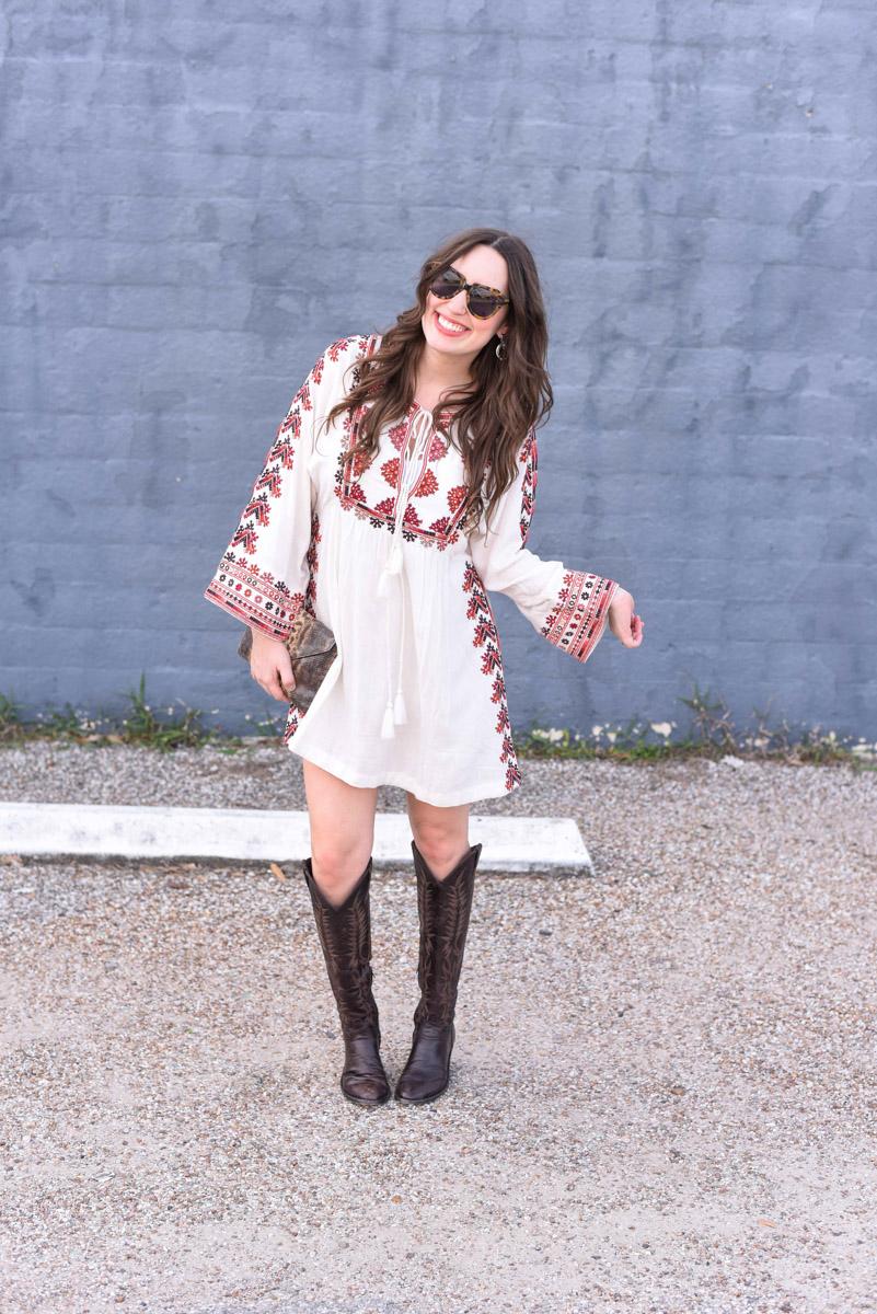 Free People Starlight Mini Dress with Old Gringo Mara Tall Cowboy Boots