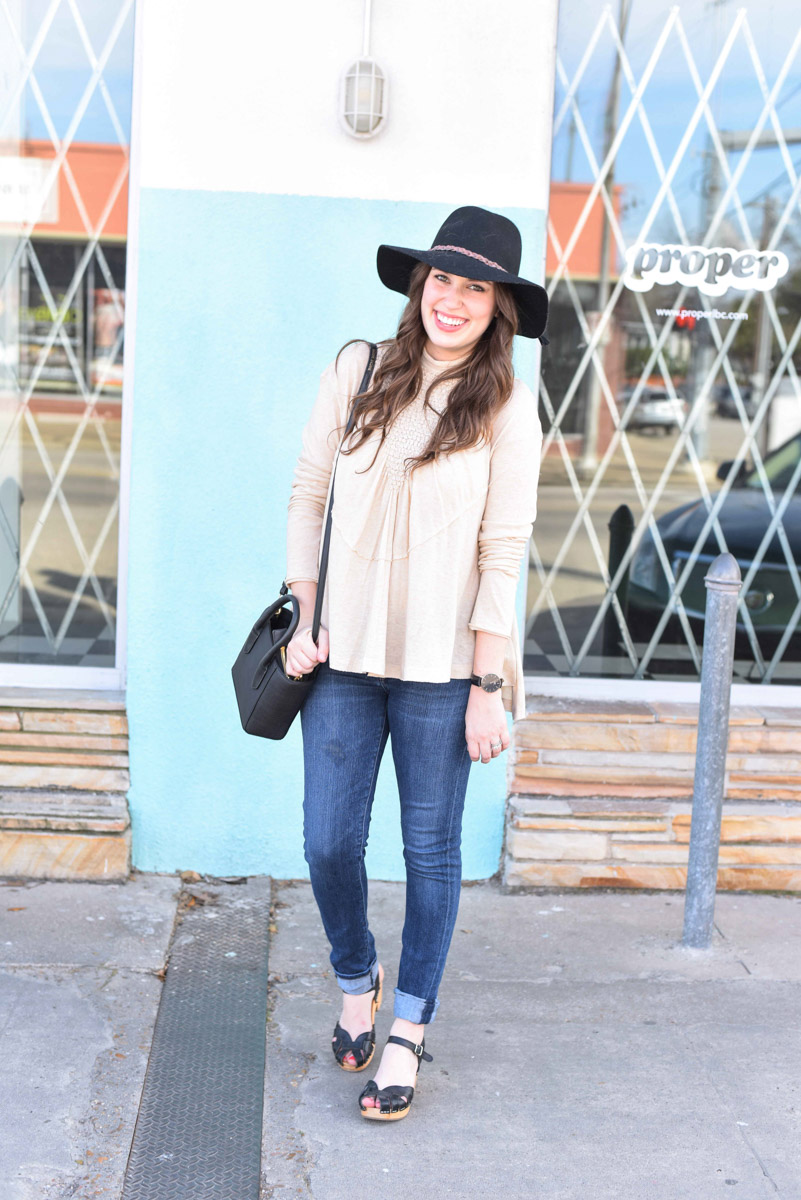 Free People High Neck Knit Top in Cream styled with Swedish Hasbeens Pearl Highs, a Dagne Dover black bag & a Cowboy Hat