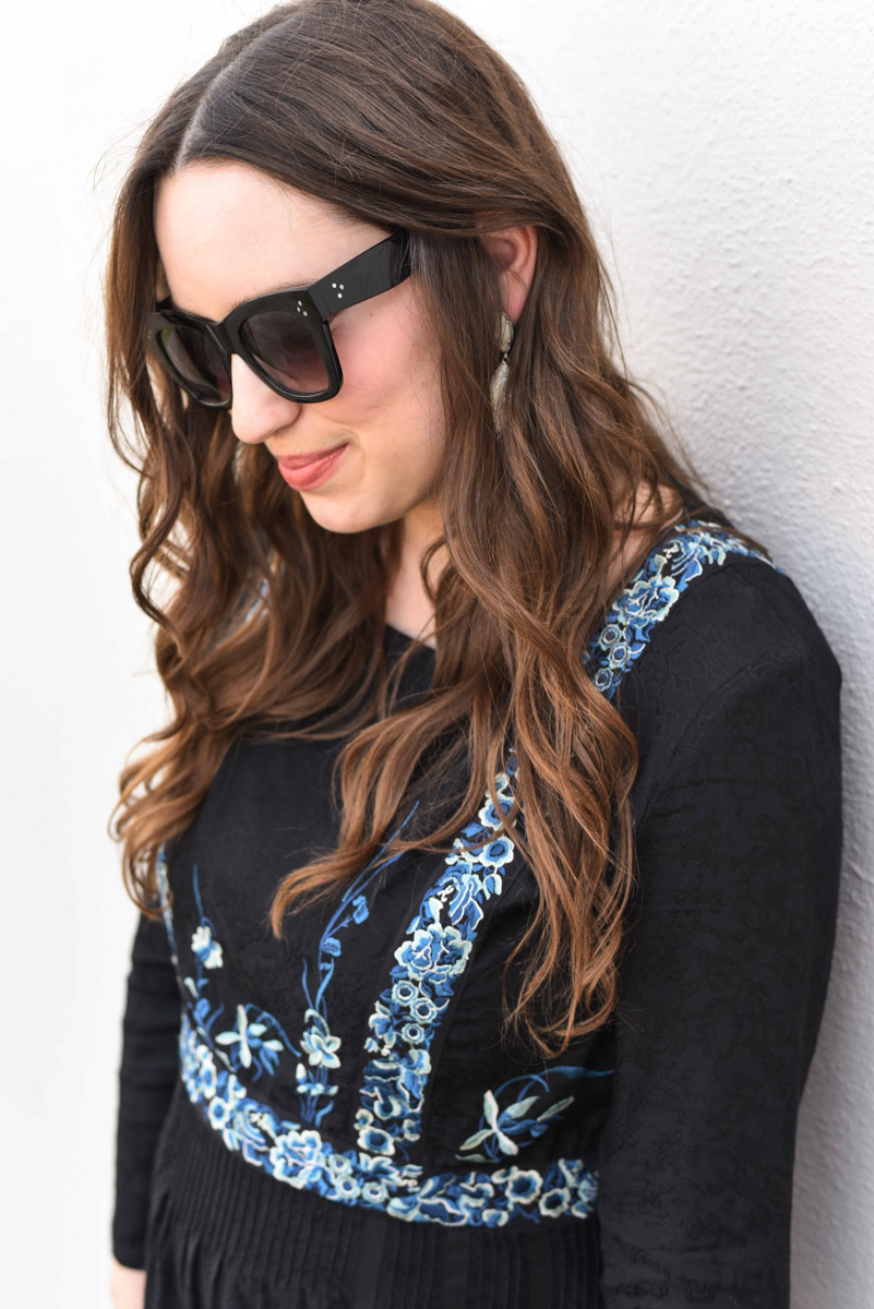 Houston fashion blogger styles a French Connection black and blue embroidered maxi.