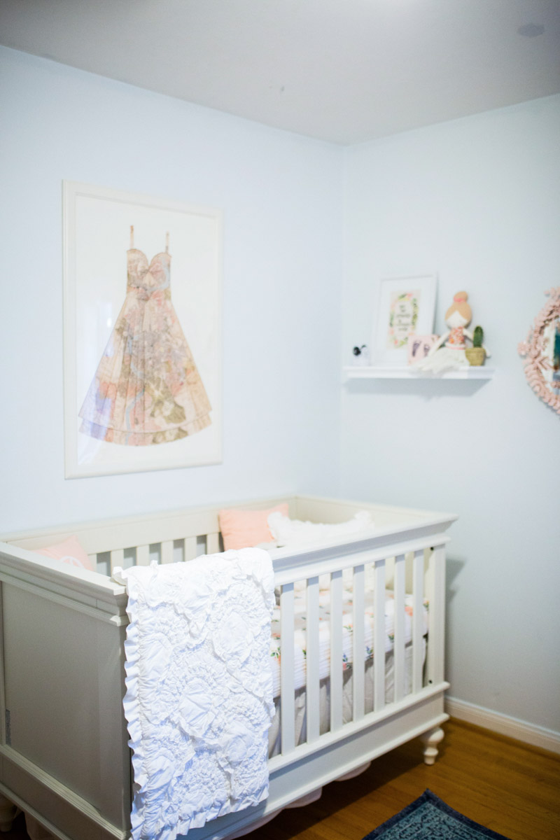 Ecelectic baby girl peach and blue nursery