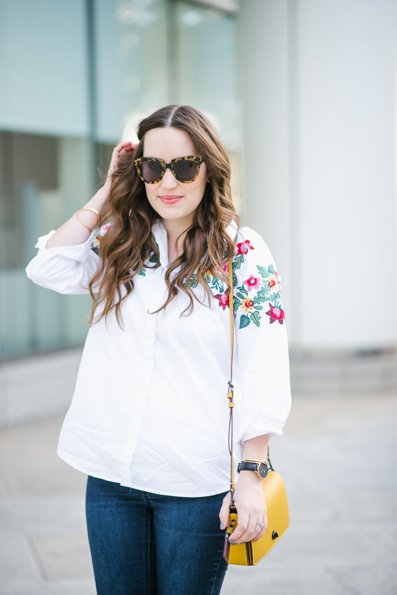 SheIn Floral Embroidered White Button Down