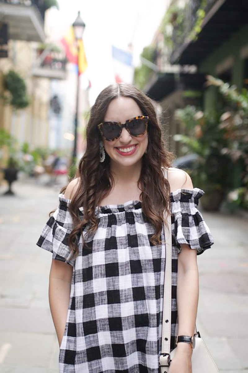 Anthropologie Gingham Off the Shoulder Sundress in New Orleans French Quarter