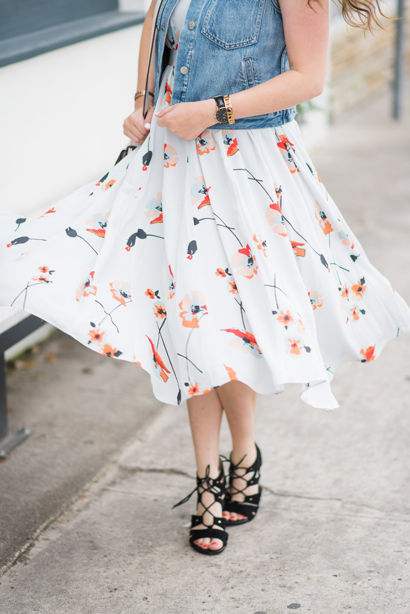 Papercrown gray and red floral printed dress