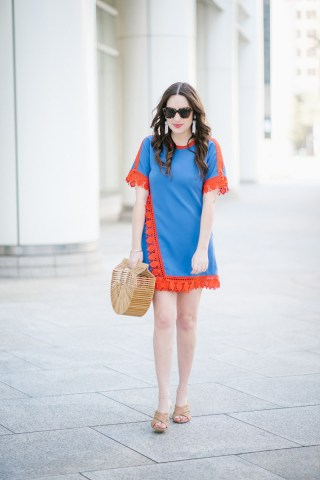 Red and blue Tory Burch Mini Dress Styled for Memorial Day Weekend