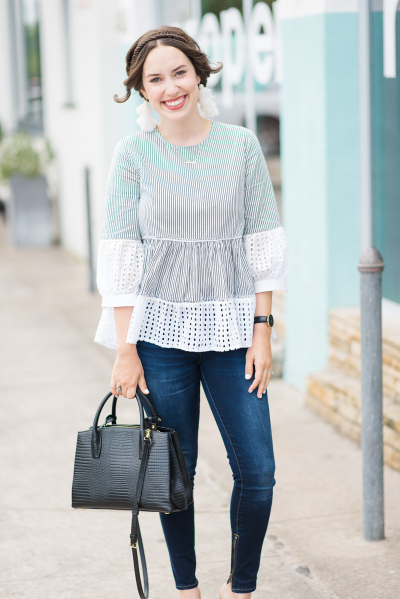 Houston blogger styles a Chicwish Striped Eyelet Top with Skinny Jeans