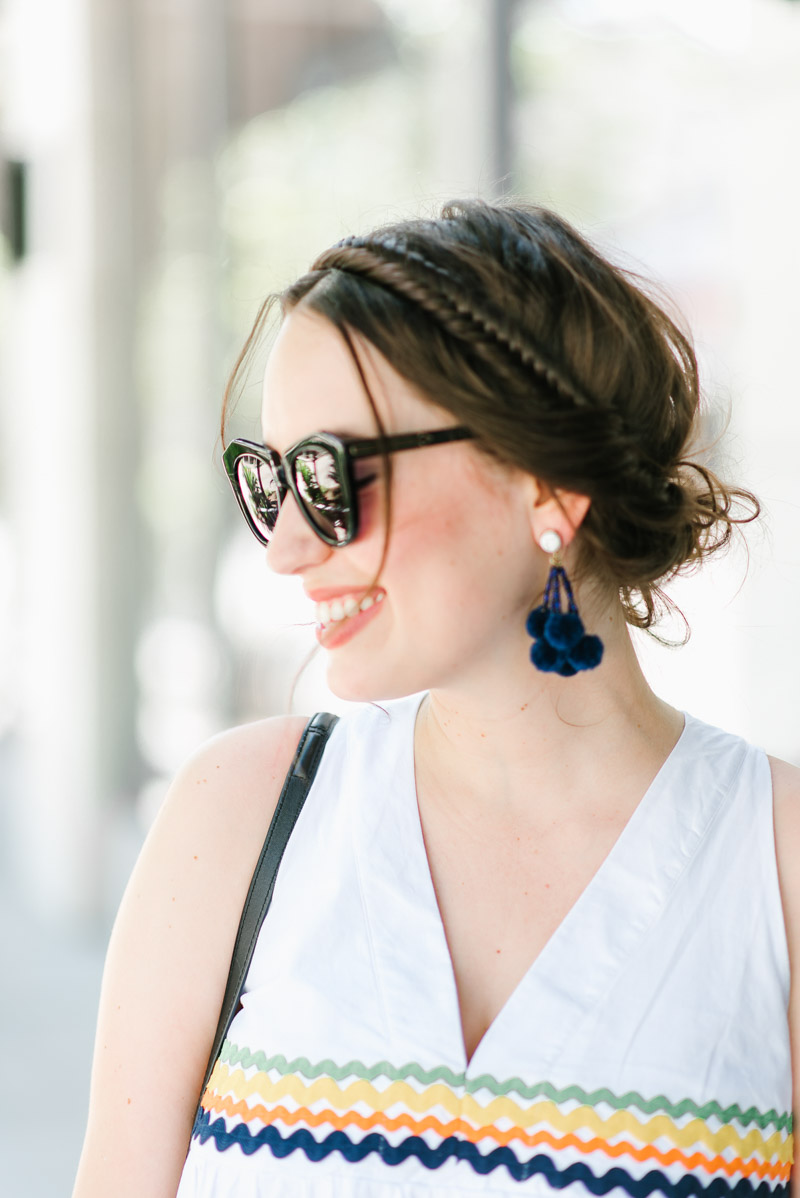 Sharing an easy crown braid with baublebar's navy pom pom earrings