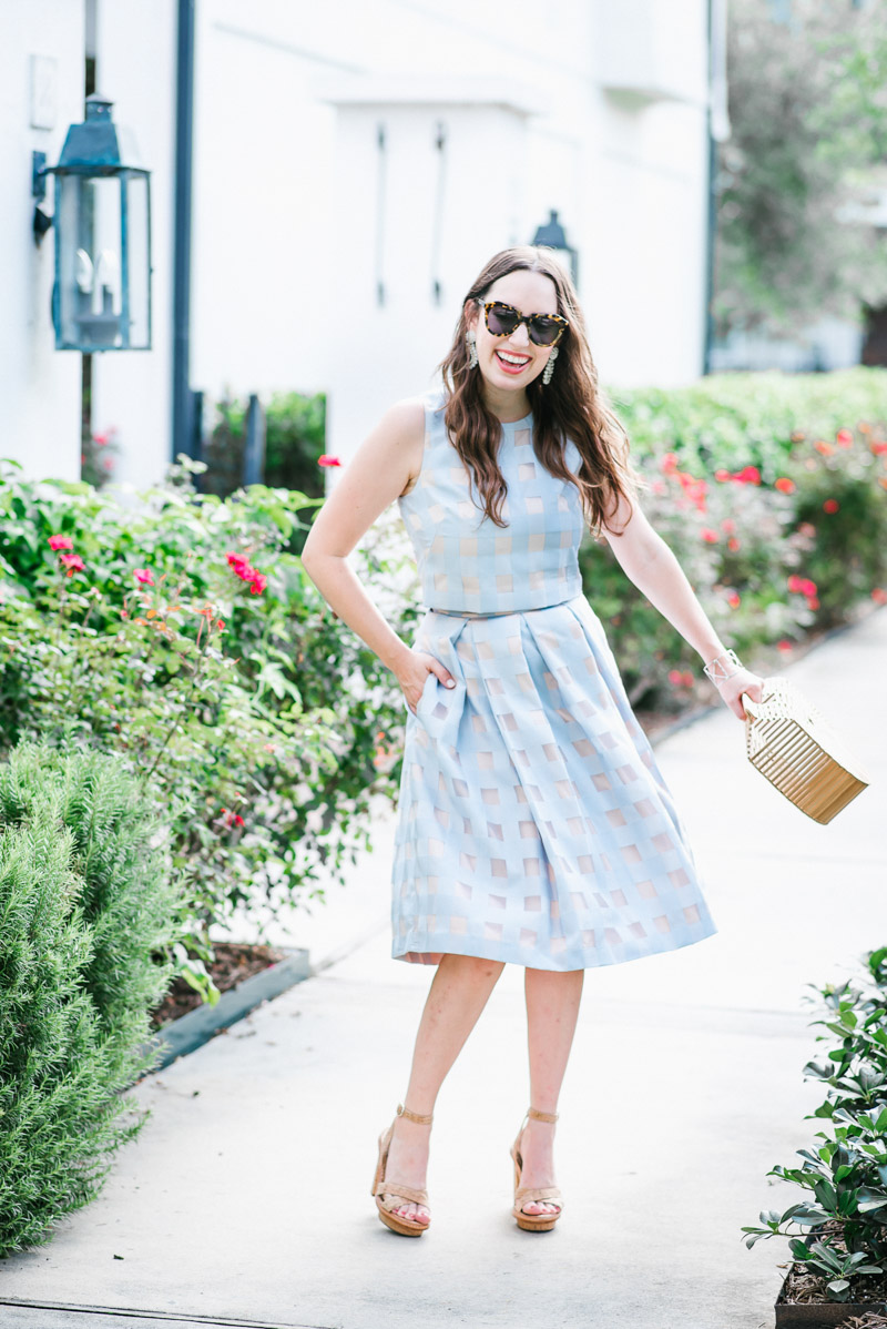 Houston fashion blogger styles a light blue Eliza J two piece dress and skirt set.