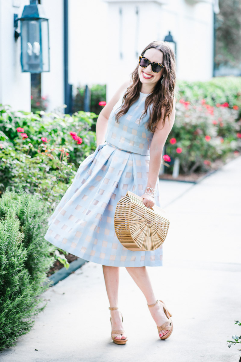 Light blue Eliza J two piece dress and skirt set.