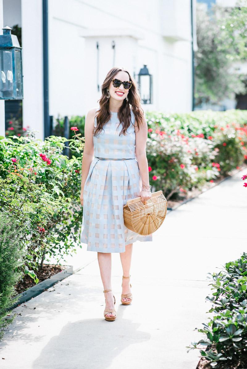 Houston fashion blogger styles a light blue Eliza J two piece dress and skirt set.