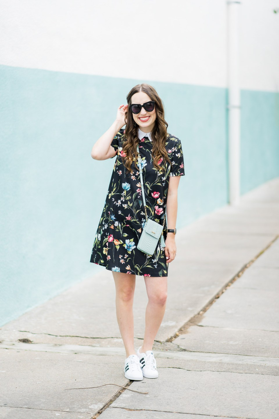 Floral_Shirt_Dress_Adidas_Sneakers-8