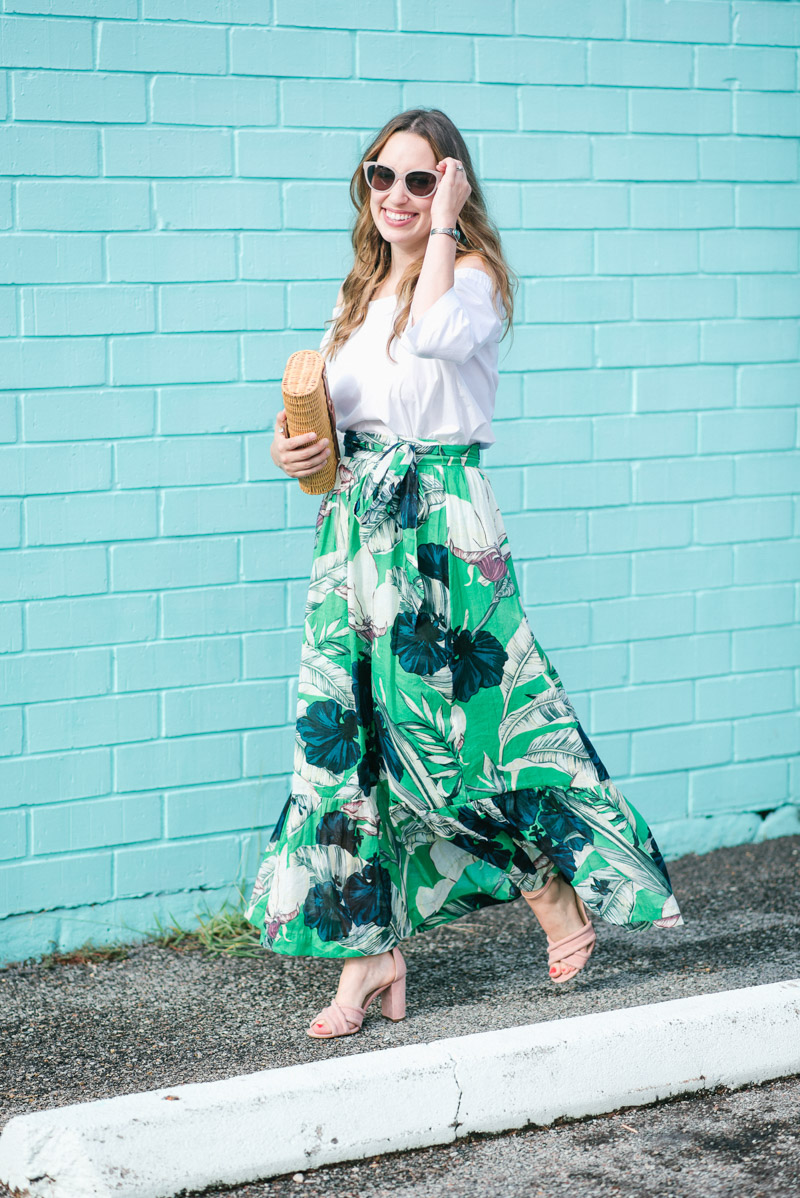 Houston fashion blogger styles a floral maxi skirt for summer.