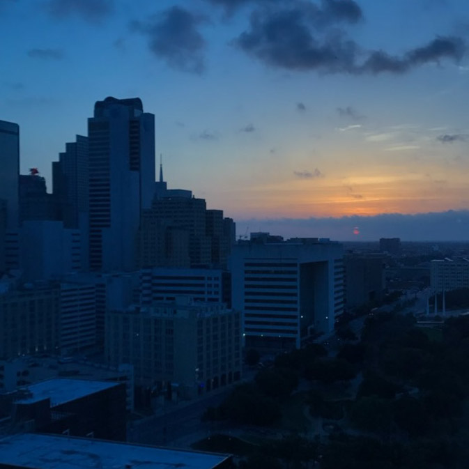 View from the Omni Dallas at sunset
