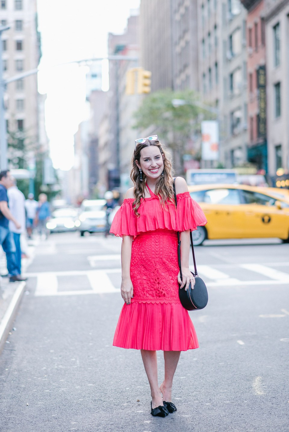 Alice Temperley Coral Berry Lace Cocktail Dress styled on the streets of New York for NYFW.