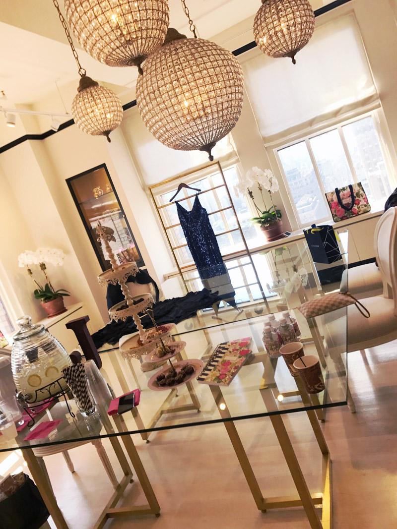 Eliza J Dresses showroom in New York City.