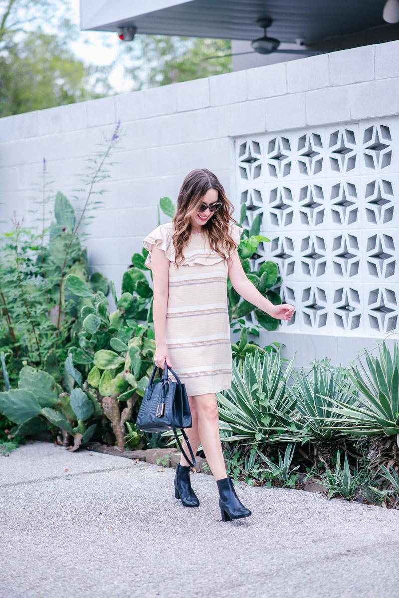 Paper Crown Naomi Shift Dress - Cream Ruffled Dress