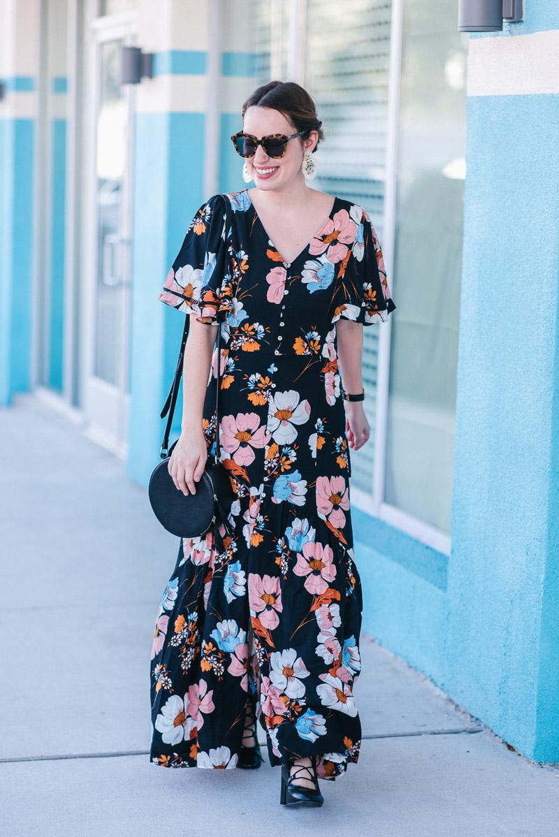Amazon Fashion Ella Moon Kaitllyn Flutter Sleeve Black Floral Dress