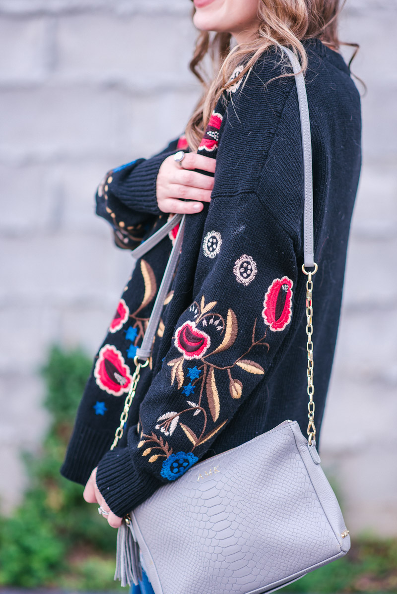 Texas fashion blogger styles a black floral embroidered sweater for fall.