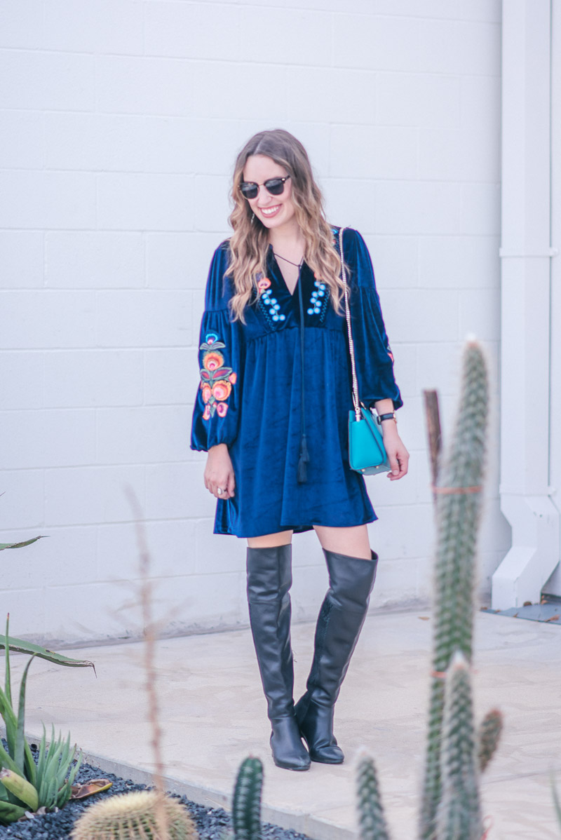 Navy Velvet Embroidered Dress with a Turquoise Henri Bendel Marquis Mini Satchel and black Seychelles Over the Knee Boots