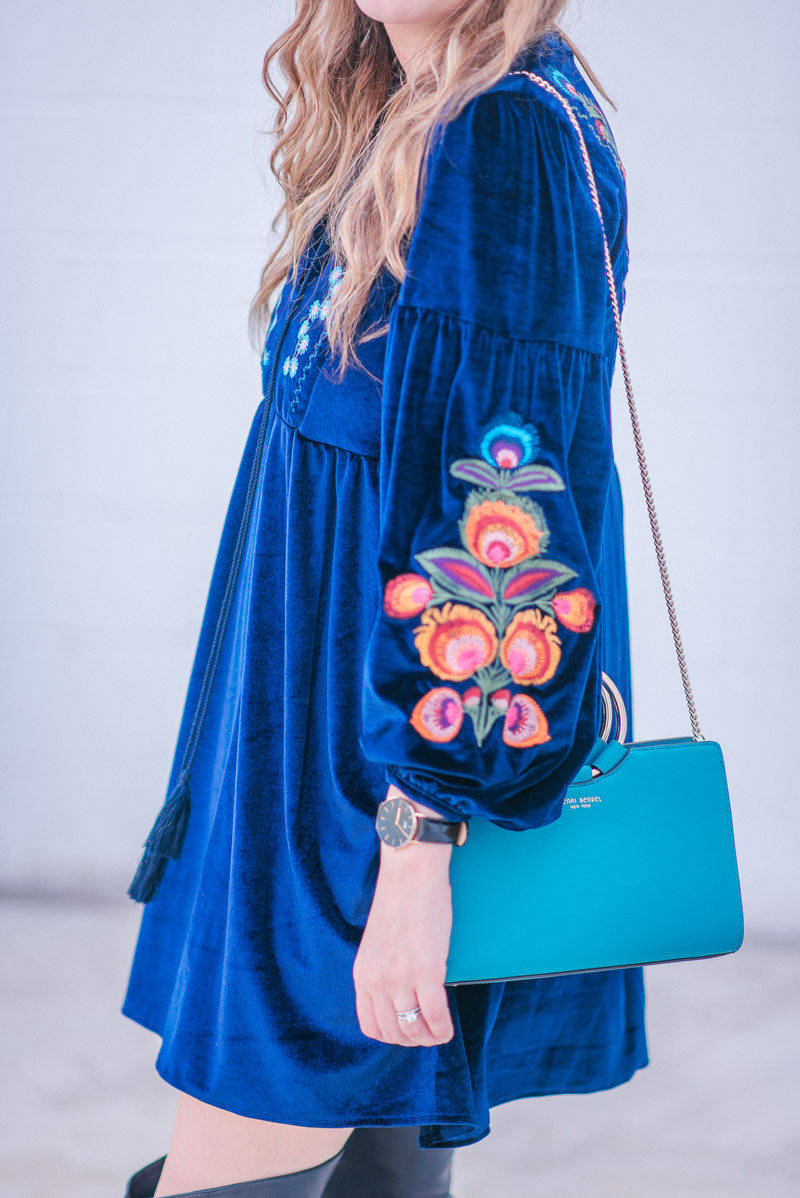 Navy Velvet Embroidered Dress with a Turquoise Henri Bendel Marquis Mini Satchel