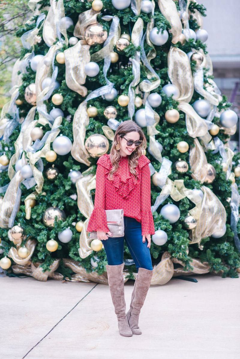 Holiday Outfit Ideas - WAYF Bell Sleeve Ruffle Top
